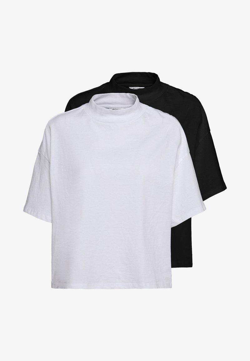 Monki - INA 2 PACK  - T-shirts - black/white