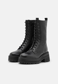 Topshop - AMY CHUNKY MID LACE UP - Šněrovací vysoké boty - black - 2