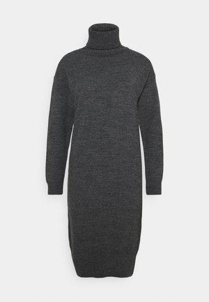 COSY ROLL NECK DRESS - Vestido de punto - charcoal