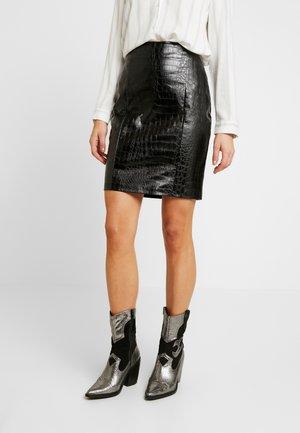EMBOSSED CROCO SKIRT - Pencil skirt - black