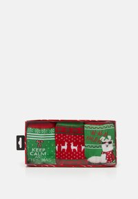 Urban Classics - CHRISTMAS LAMA SOCKS 3 PACK - Socks - green/red - 1