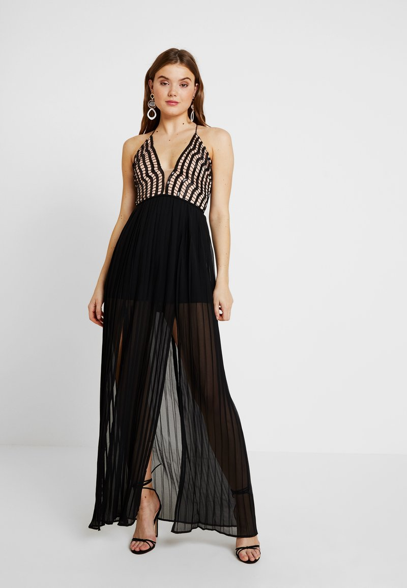 Rare London - SEQUIN PLUNGE DOUBLE SPLIT DRESS - Occasion wear - black