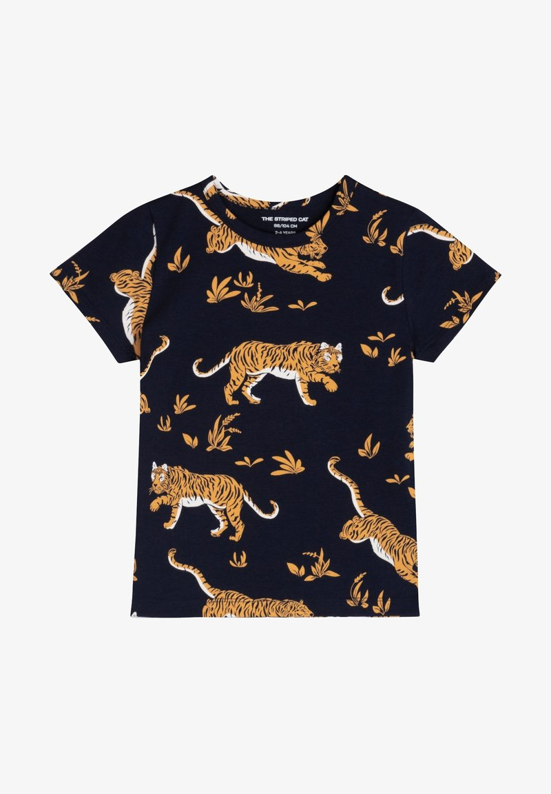 The Striped Cat - TIGER - Print T-shirt - navy