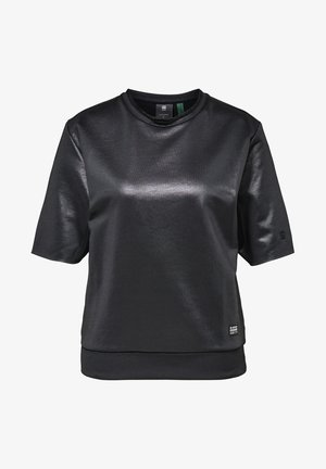 GLOSSY JASMAR ROUND SHORT SLEEVE - Sweatshirt - dk black