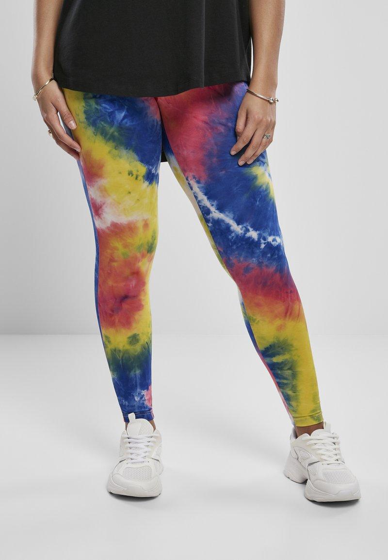 Urban Classics - TIE DYE HIGH WAIST  - Leggings - Trousers - royalblue/brightyellow