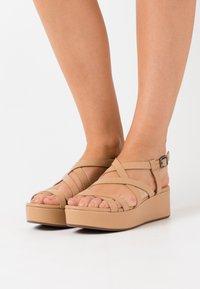 ECCO - ELEVATE - Platform sandals - latte celeste - 0