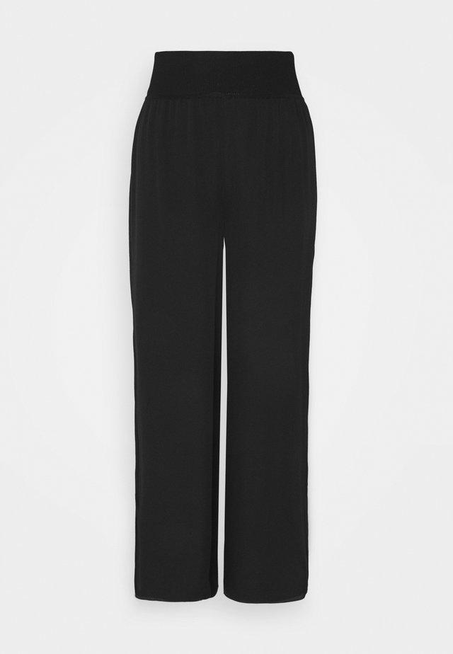 SLIT PANT - Broek - black