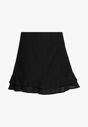 SASHA FRILL MINI SKIRT - Mini skirt - black