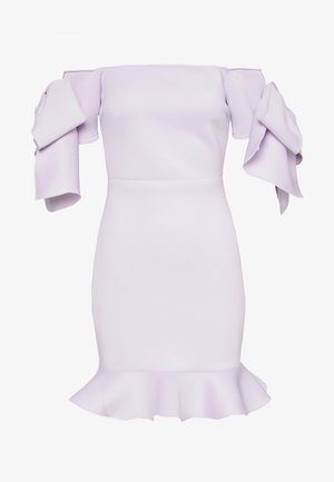 RUFFLE BOW BARDOT MINI DRESS - Day dress - lilac