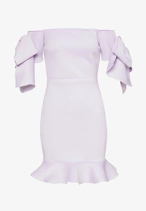 RUFFLE BOW BARDOT MINI DRESS - Vestido informal - lilac