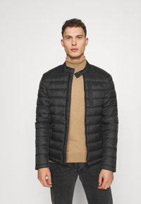 Superdry - COMMUTER QUILTED BIKER - Light jacket - black - 0
