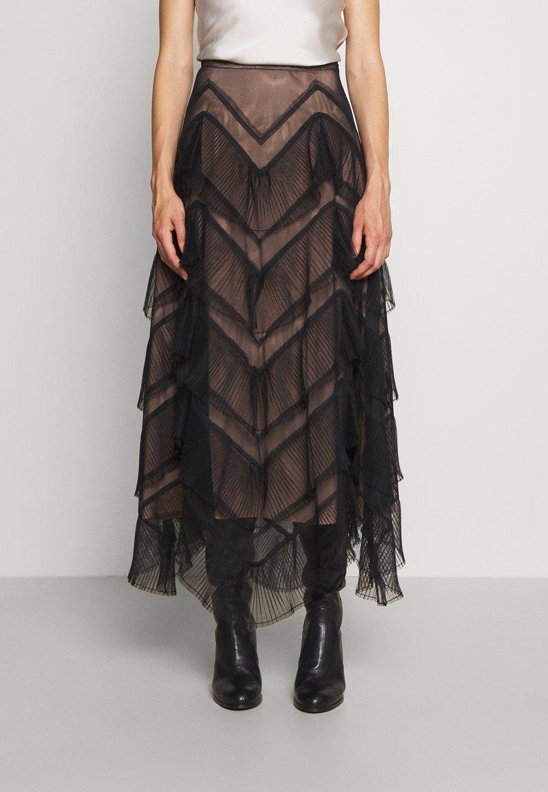 TWINSET - GONNA LUNGA BALZE - A-line skirt - nero