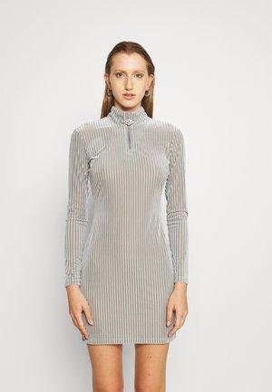 HALF ZIP DRESS - Shift dress - silver