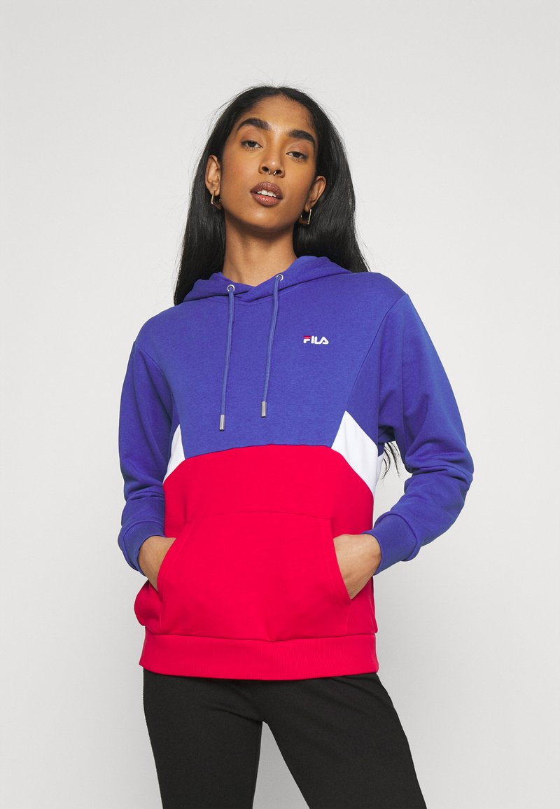 Fila - AMYA CROPPED HOODY - Sweatshirt - clematis blue/true red/bright white