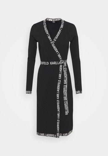 LOGO TAPE WRAP DRESS - Jumper dress - black