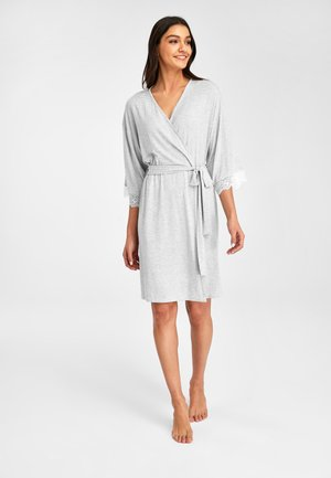 GREY STRIPE SUPERSOFT MODAL ROBE - Dressing gown - grey