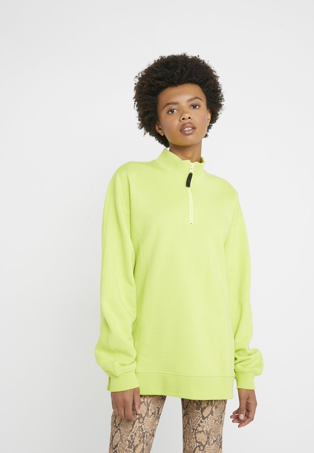 UNISEX BACK ZIP - Felpa - fluorescent yellow
