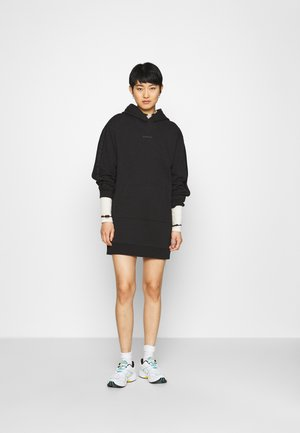 LOGO TRIM HOODIE DRESS - Day dress - black