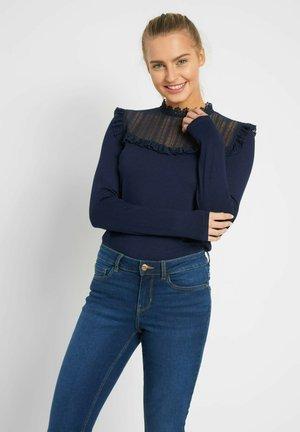 MIT SPITZE - Long sleeved top - tintenblau