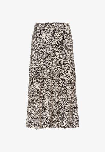 MIT LEOPARDENPRINT - A-line skirt - black, beige