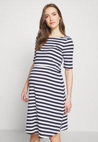 Anna Field MAMA - Jersey dress - white/dark blue - 0