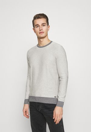 STRUCTURED CREW NECK - Jumper - light soft grey melange