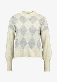 ONLY - ONLBERIL CHECK HIGHNECK - Strikkegenser - whitecap gray/light grey melange/silver - 3