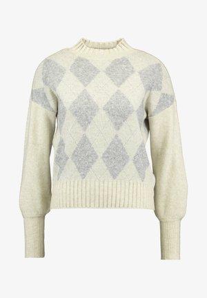 ONLBERIL CHECK HIGHNECK - Strikkegenser - whitecap gray/light grey melange/silver