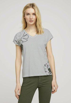 Print T-shirt - offwhite khaki stripe