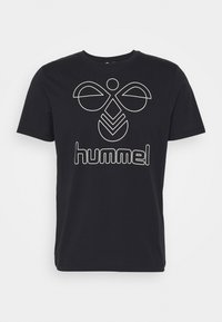 HMLPETER  - T-shirts print - black/bone white