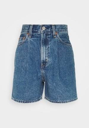 PLEATED - Denim shorts - blue denim