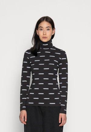 LOGO ALL OVER PRINT ROLL NECK - Long sleeved top - black