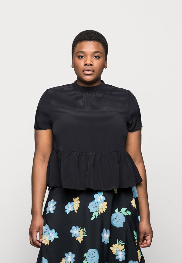 Vero Moda Curve VMBRISA - T-shirt z nadrukiem - black/czarny VMKK