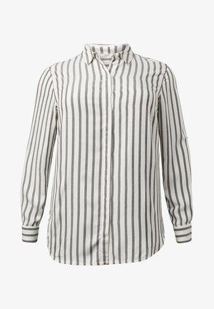 MIT TAPE-DETAILS - Button-down blouse - offwhite grey stripe