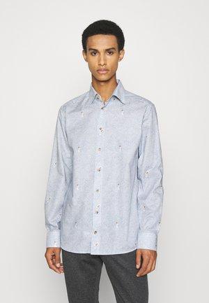 Slim Fit - Crane Print Wrinkle Free Flannel Shirt  - Shirt - blue