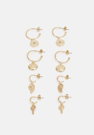 PCMADAGASKI EARRINGS 4 PACK - Øredobber - gold-coloured