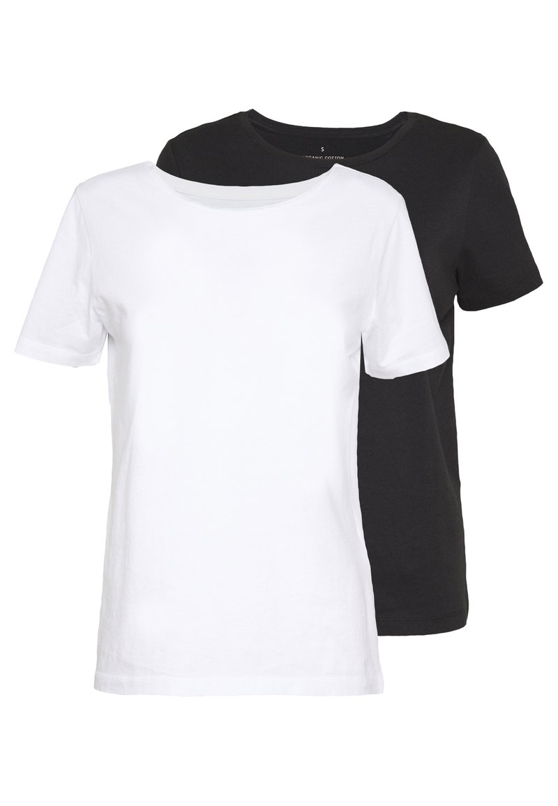 ONLY - ONLPURE LIFE O-NECK 2PACK - Jednoduché triko - bright white/black