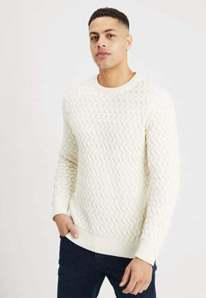 SLHCHARLES CABLE BLOCKING - Pullover - marshmallow