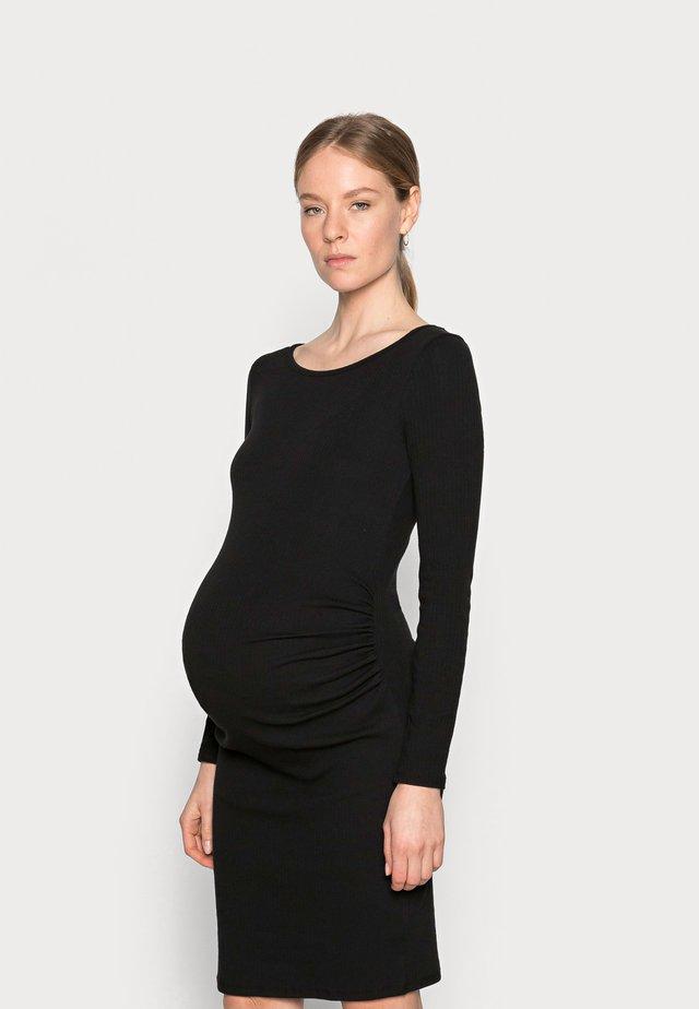 MATERNITY LETTUCE EDGE LONG SLEEVE DRESS - Jerseyjurk - black
