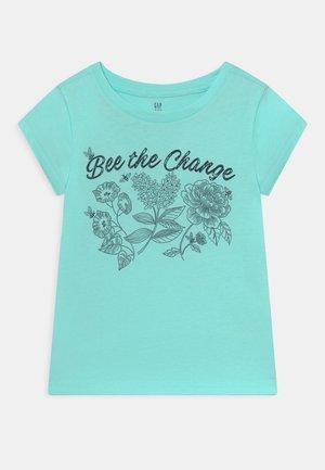 Print T-shirt - bleached aqua