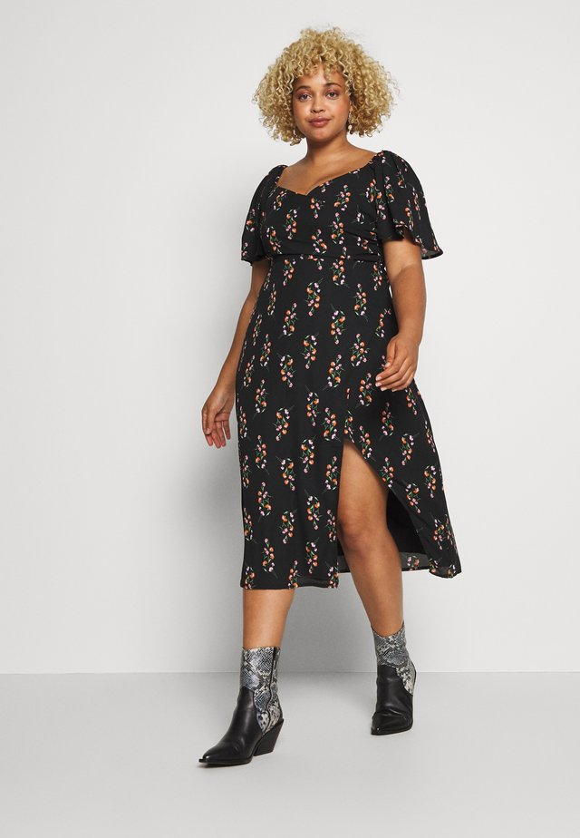 FLORAL WRAP FRONT MIDI DRESS - Kjole - black