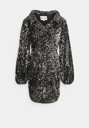 BALLOON SLEEVE DRESS - Juhlamekko - black/silver