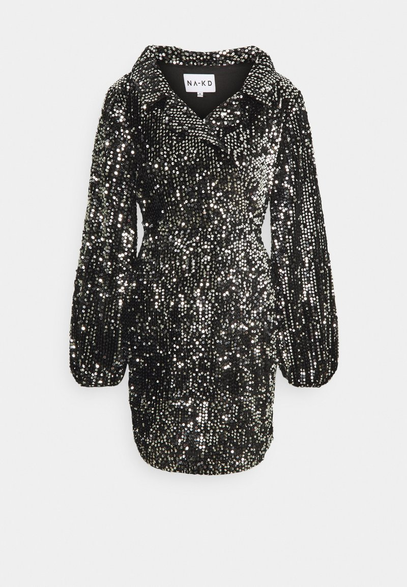NA-KD - BALLOON SLEEVE DRESS - Cocktail dress / Party dress - black/silver