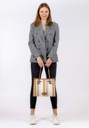 Handbag - cognac-stripes