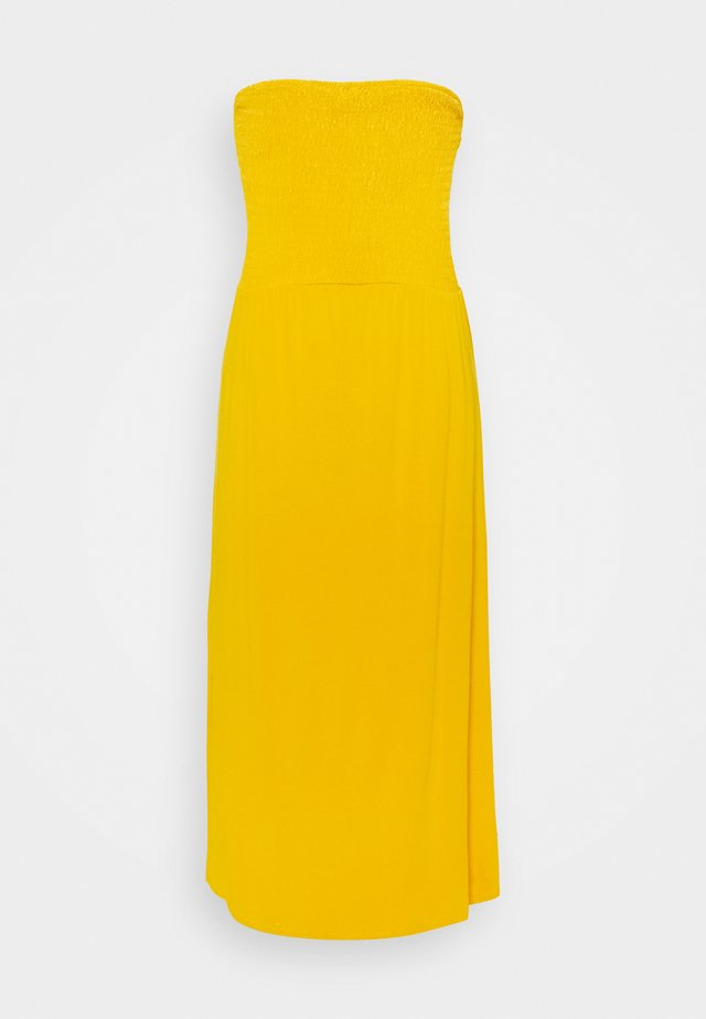 PRINT SHIRRED DRESS - Jerseyjurk - yellow