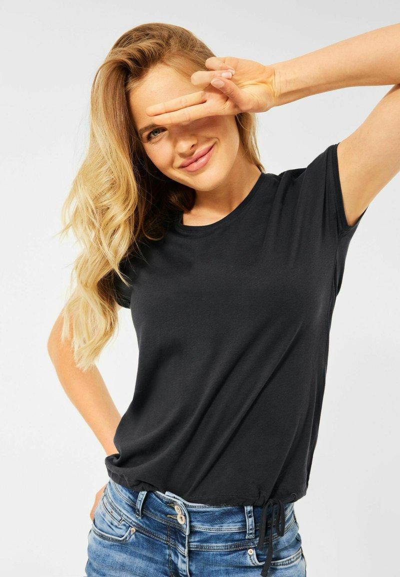 Cecil - MIT SMOK-DETAILS - Basic T-shirt - grau
