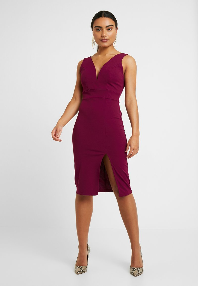 WAL G PETITE - SWEETHEARD NECKLINE SLIT DRESS - Juhlamekko - plum