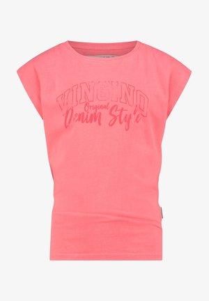 Print T-shirt - flu red