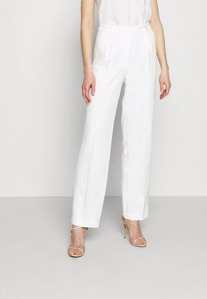 LOOSE FIT SUIT PANTS - Kangashousut - white