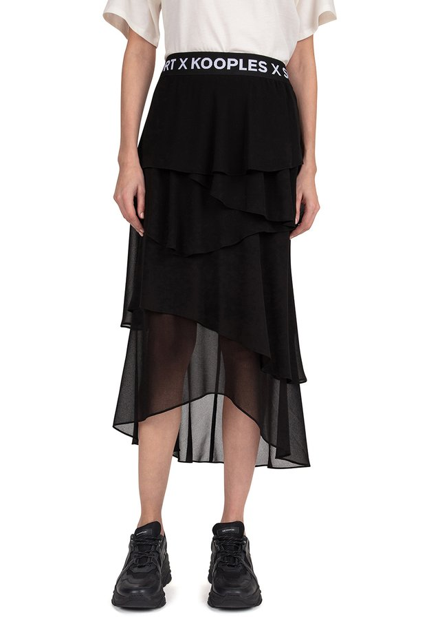 FRILLY - A-line skirt - black